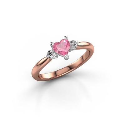 Foto van Verlovingsring Lieselot HRT 585 rosé goud roze saffier 5 mm