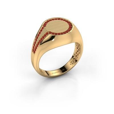 Heren ring Gijs 585 goud robijn 1 mm