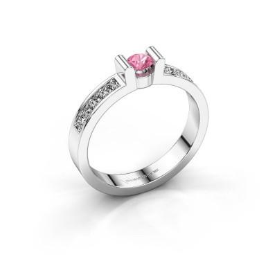 Verlovingsring Sofie 2 950 platina roze saffier 3.4 mm