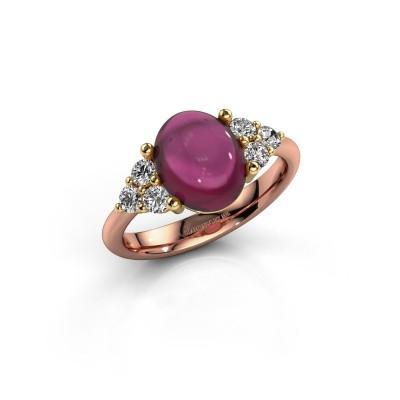 Ring Clarice 585 rosé goud rhodoliet 10x8 mm