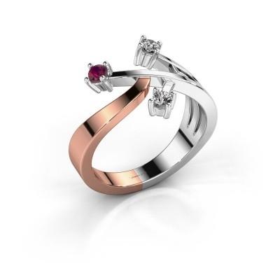 Ring Lillian 585 rosé goud rhodoliet 2.5 mm