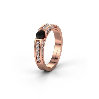 Trouwring WH2098L 375 rosé goud zwarte diamant ±4x3 mm