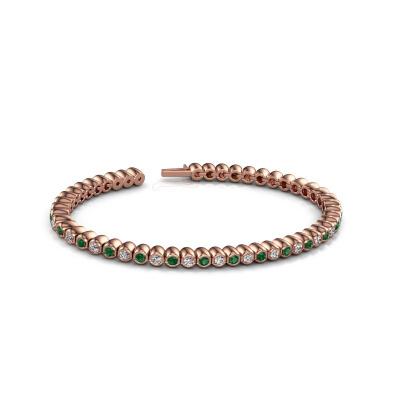 Foto van Tennisarmband Bianca 2.4 mm 375 rosé goud smaragd 2.4 mm