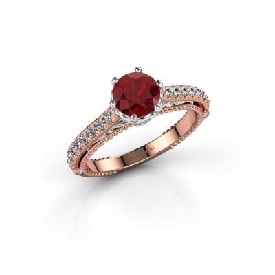 Foto van Verlovingsring Venita 585 rosé goud robijn 6.5 mm