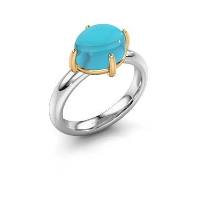 Ring Melodee 585 witgoud blauw topaas 10x8 mm
