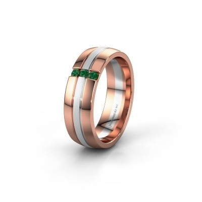 Wedding ring WH0426L26A 585 rose gold emerald ±6x1.7 mm