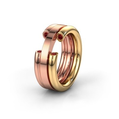 Wedding ring WH6018L 585 gold ruby ±0.31x0.12in