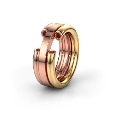 Trouwring WH6018L 585 goud robijn ±8x3 mm