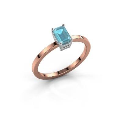 Verlobungsring Denita 1 585 Roségold Blau Topas 6x4 mm