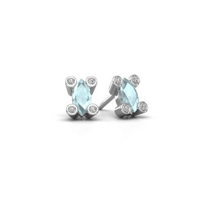 Picture of Stud earrings Cornelia Marquis 925 silver aquamarine 7x3 mm