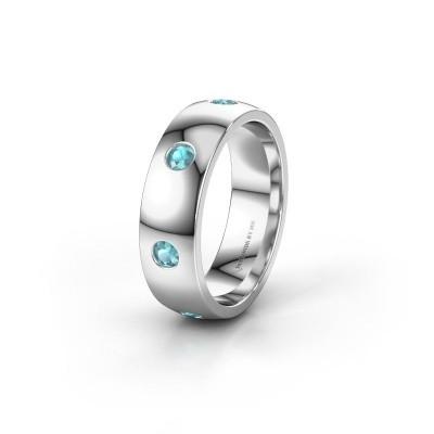 Wedding ring WH0105L26BP 950 platinum blue topaz ±6x2 mm
