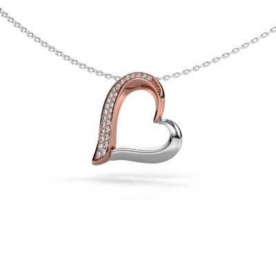 Halskette Heart 1 585 Roségold Zirkonia 1.2 mm