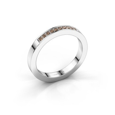 Stackable ring Loes 3 950 platinum brown diamond 0.10 crt