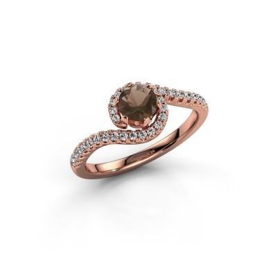 Verlovingsring Elli 375 rosé goud rookkwarts 5 mm