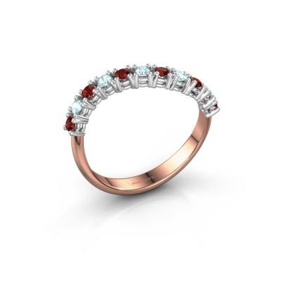 Ring Eliza 585 rosé goud granaat 2 mm