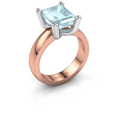 Ring Clelia EME 585 rosé goud aquamarijn 10x8 mm