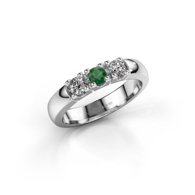Foto van Verlovingsring Rianne 3 585 witgoud smaragd 3.4 mm