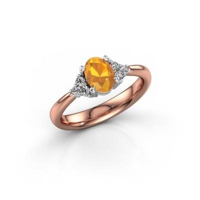 Foto van Verlovingsring Aleida OVL 1 585 rosé goud citrien 7x5 mm
