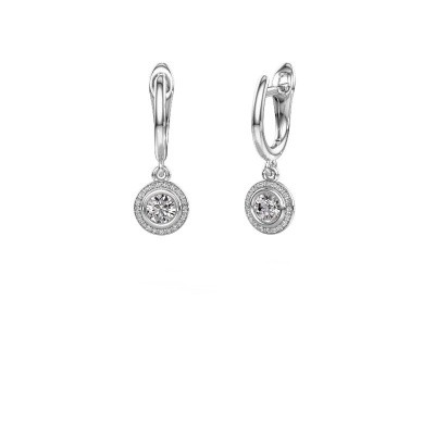 Photo de Pendants d'oreilles Noud RND 585 or blanc diamant synthétique 0.60 crt