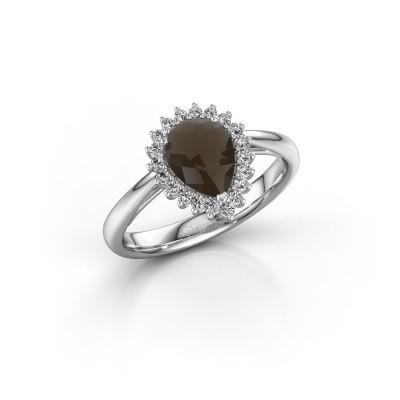 Engagement ring Tilly per 1 585 white gold smokey quartz 8x6 mm