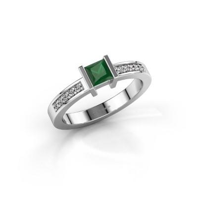 Foto van Aanzoeksring Jordan 585 witgoud smaragd 4 mm