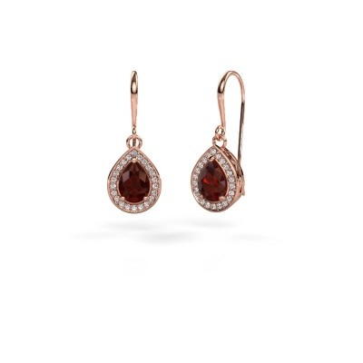 Picture of Drop earrings Beverlee 1 375 rose gold garnet 7x5 mm