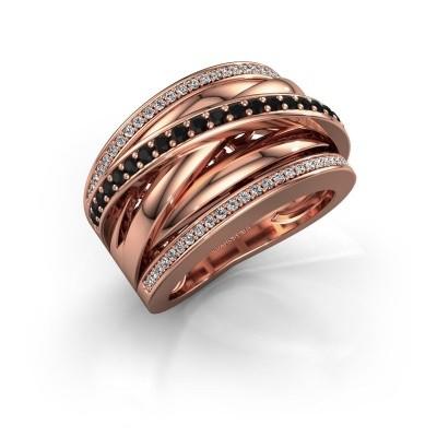 Foto van Ring Clair 2 585 rosé goud zwarte diamant 0.628 crt