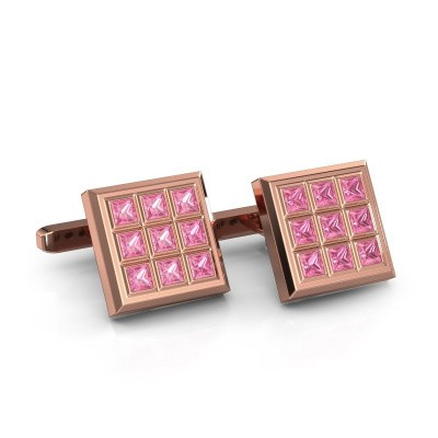 Picture of Cufflinks Clen 375 rose gold pink sapphire 3 mm