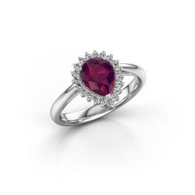 Picture of Engagement ring Tilly per 1 585 white gold rhodolite 8x6 mm
