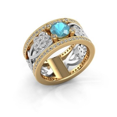 Ring Severine 585 goud blauw topaas 6 mm