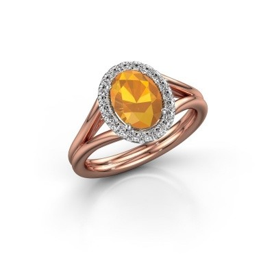 Engagement ring Rachele 1 585 rose gold citrin 8x6 mm