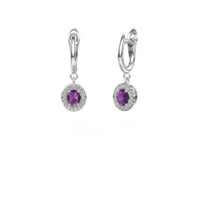 Drop earrings Nakita 585 white gold amethyst 5x4 mm