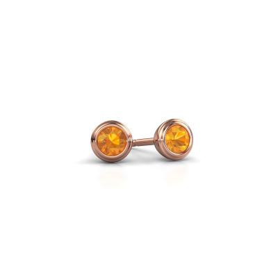 Foto van Oorstekers Shemika 375 rosé goud citrien 3.4 mm