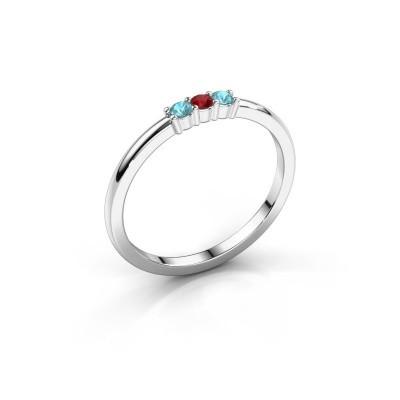 Foto van Verlovings ring Yasmin 3 925 zilver robijn 2 mm