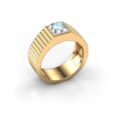 Pink ring Elias 585 goud aquamarijn 5 mm