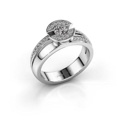 Ring Jeanet 2 585 witgoud zirkonia 4 mm
