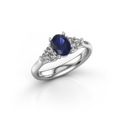 Picture of Engagement ring Monika OVL 585 white gold sapphire 7x5 mm