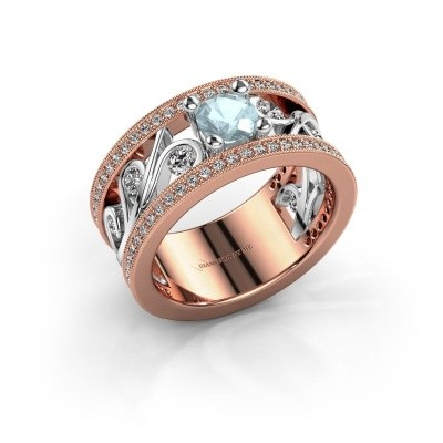 Ring Sanne 585 rosé goud aquamarijn 5 mm