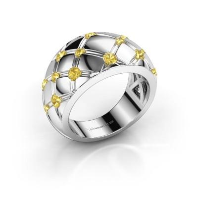 Ring Imke 585 Weißgold Gelb Saphir 2.5 mm