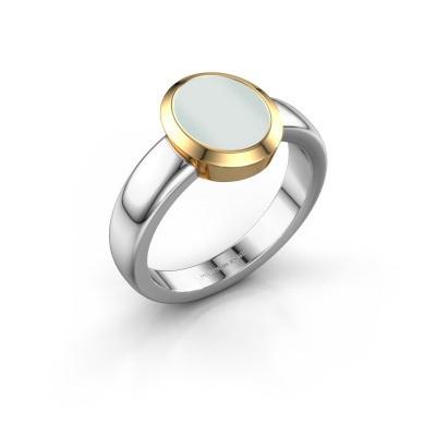 Signet ring Freeda 1 585 white gold green sardonyx 10x8 mm
