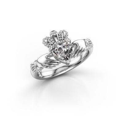 Foto van Ring Claddagh 2 950 platina diamant 0.80 crt