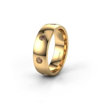 Wedding ring WH0105L26BP 375 gold brown diamond ±6x2 mm