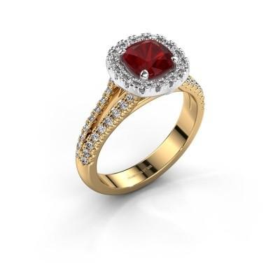 Verlovingsring Francesca 585 goud robijn 6 mm