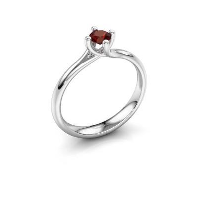 Engagement ring Dewi Round 950 platinum garnet 4 mm