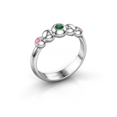 Stackable ring Lily 925 silver emerald 2.5 mm