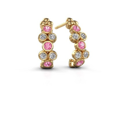 Earrings Kayleigh 375 gold pink sapphire 2.4 mm