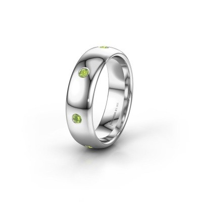 Wedding ring WH0105L36BP 585 white gold peridot ±6x2 mm