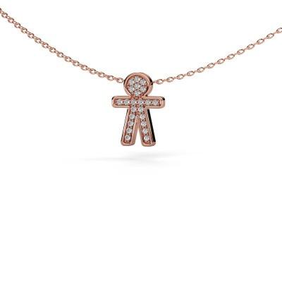 Foto van Hanger Boy 375 rosé goud diamant 0.115 crt