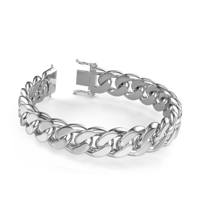 Photo de Cubain bracelet ±15 mm 585 or blanc