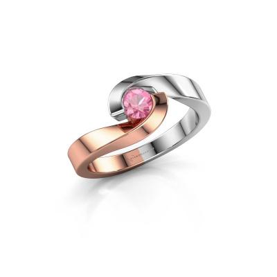 Foto van Ring Sheryl 585 rosé goud roze saffier 4 mm